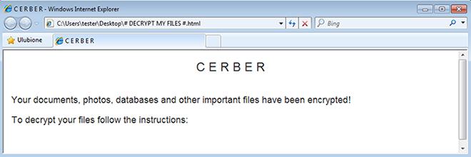 Verwijder het Cerber-virus: .cerber bestand decryptor