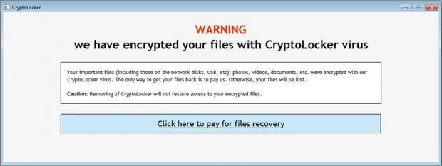 Waarschuwingsscherm van CryptoLocker
