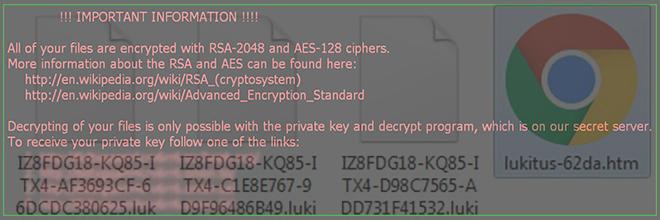 Het verwijderen van de Lukitus / Locky ransomware