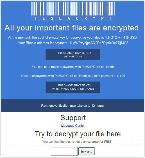TeslaCrypt betalingsverwerkingsvenster