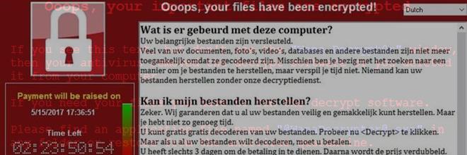 Wannacry ransomware virus – Nederland cyberaanval