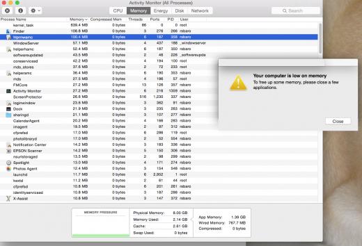 """De waarschuwing """"Uw computer heeft te weinig geheugen"""" op de Mac"""